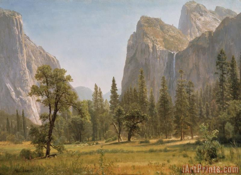 Albert Bierstadt Bridal Veil Falls Yosemite Valley California Art Print