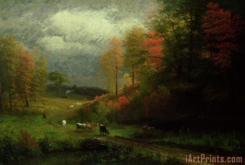 Albert Bierstadt Rainy Day in Autumn Art Print