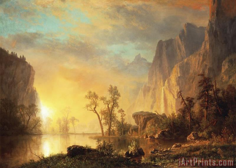 Albert Bierstadt Sunset in the Rockies Art Print