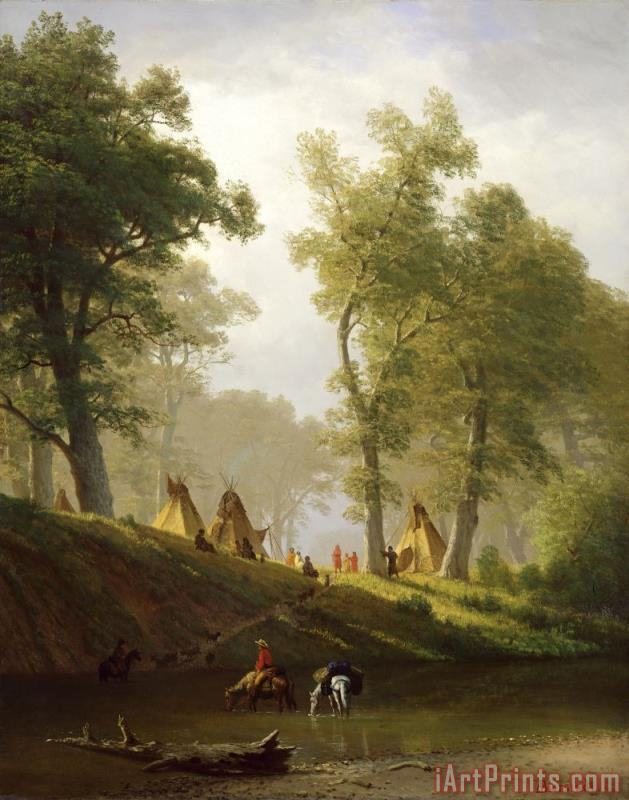 The Wolf River - Kansas painting - Albert Bierstadt The Wolf River - Kansas Art Print