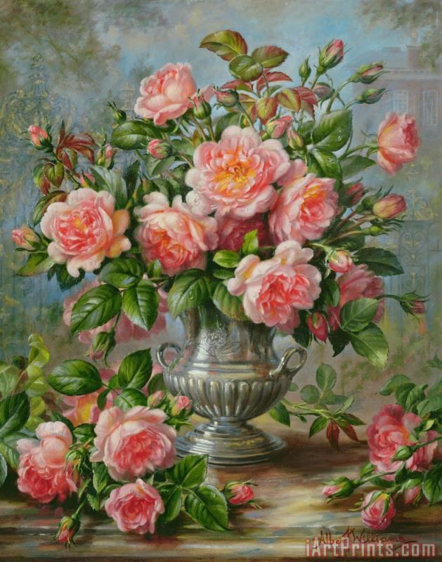 Albert Williams English Elegance Roses in a Silver Vase Art Print