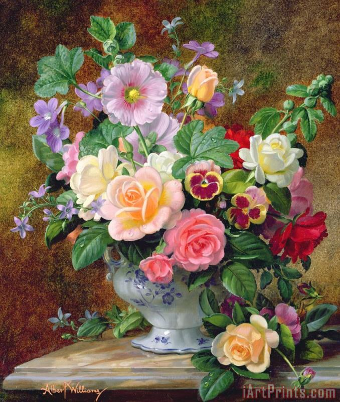 Albert Williams Roses Pansies And Other Flowers In A Vase Art Print