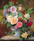 Albert Prints - Roses Pansies And Other Flowers In A Vase by Albert Williams