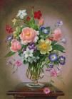 Albert Prints - Roses Peonies And Freesias In A Glass Vase by Albert Williams