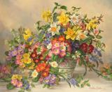 Albert Prints - Spring Flowers and Poole Pottery by Albert Williams