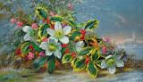 Winter Roses In A Landscape by Albert Williams