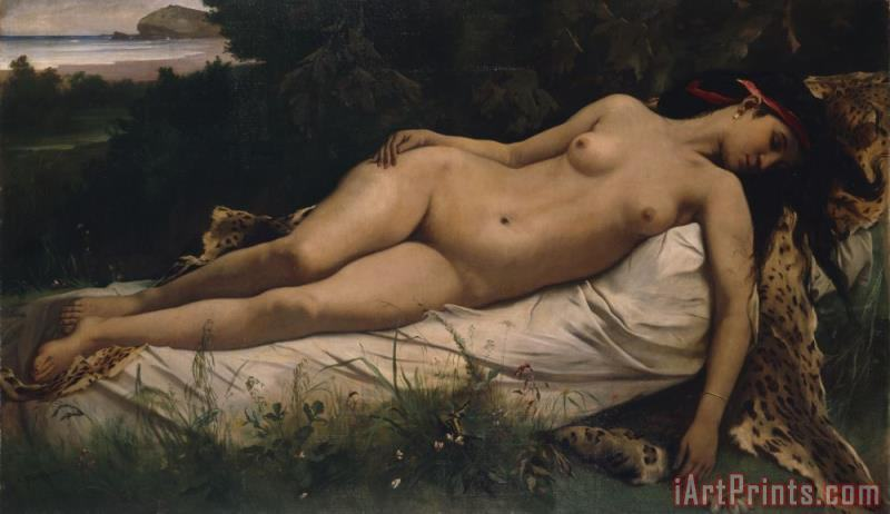 Recumbent Nymph painting - Anselm Feuerbach Recumbent Nymph Art Print