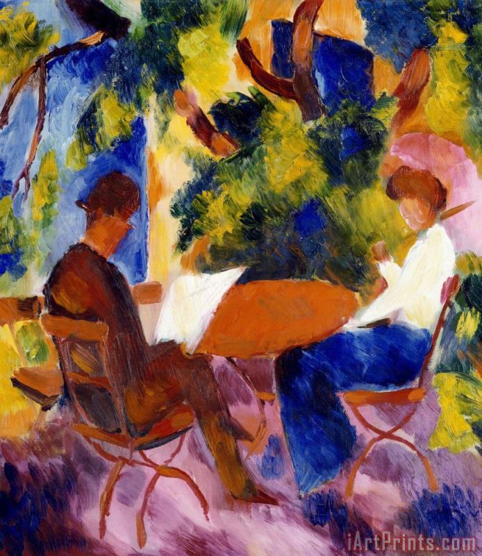 At The Garden Table painting - August Macke At The Garden Table Art Print