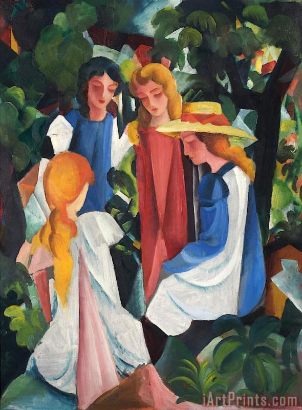 Four Girls painting - August Macke Four Girls Art Print