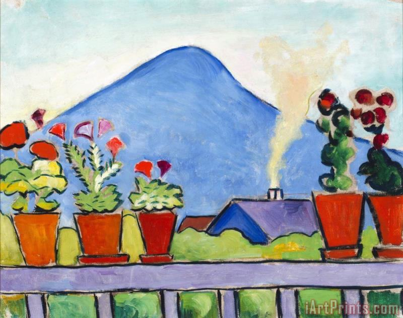 August Macke Geraniums Before Blue Mountain Art Print