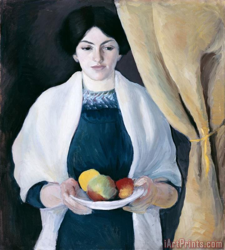 Portrait with Apples painting - August Macke Portrait with Apples Art Print