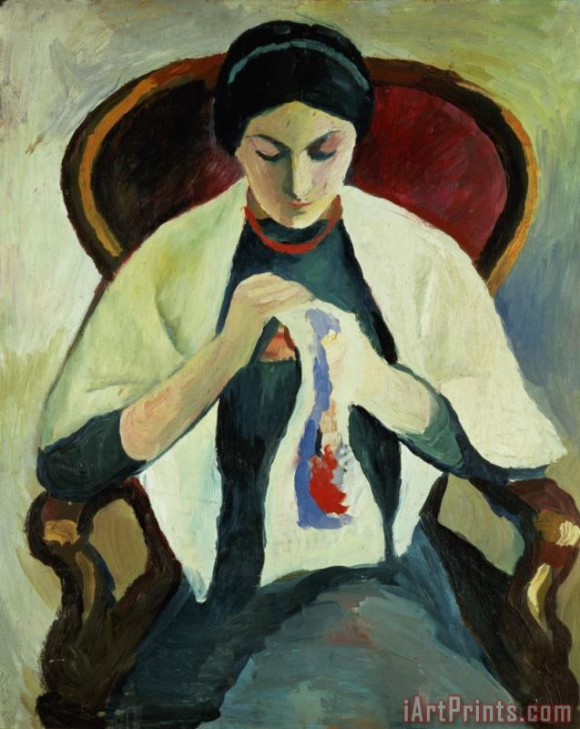 Woman Sewing painting - August Macke Woman Sewing Art Print