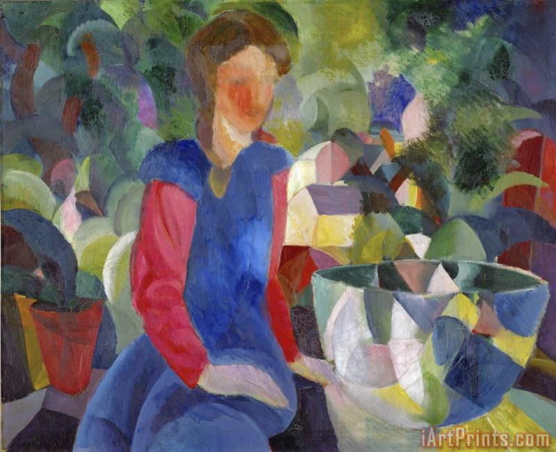Woman with Fishbowl (gemalde Madchen Mit Fischglas) painting - August Macke Woman with Fishbowl (gemalde Madchen Mit Fischglas) Art Print