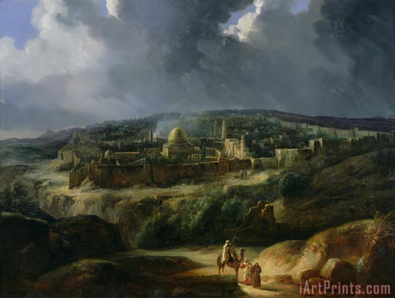 View of Jerusalem from the Valley of Jehoshaphat painting - Auguste Forbin View of Jerusalem from the Valley of Jehoshaphat Art Print