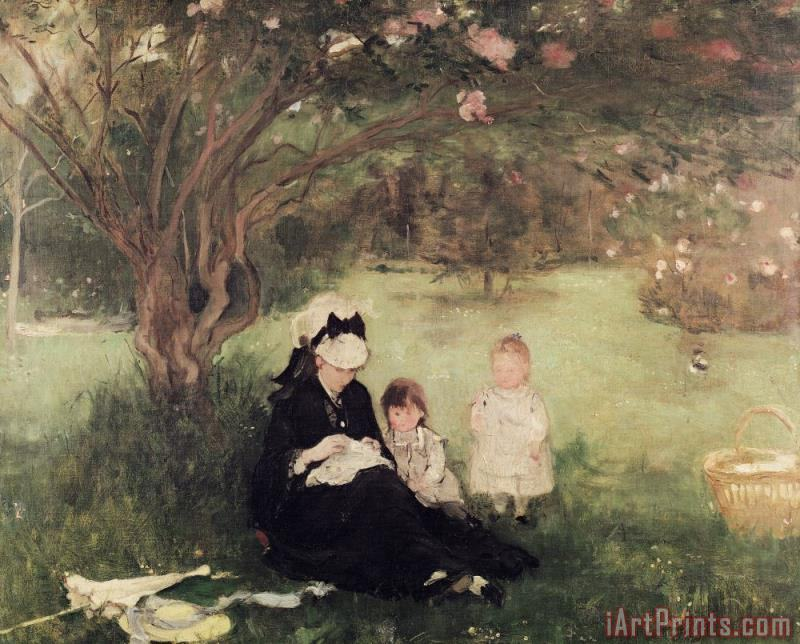 Berthe Morisot Beneath the Lilac at Maurecourt Art Print