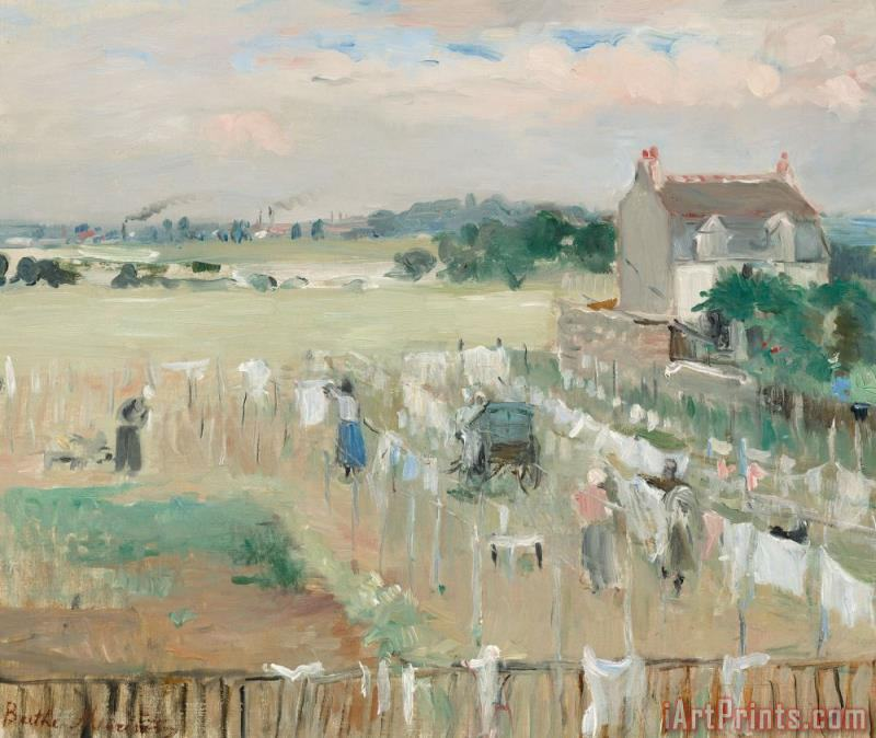 Hanging The Laundry Out To Dry painting - Berthe Morisot Hanging The Laundry Out To Dry Art Print
