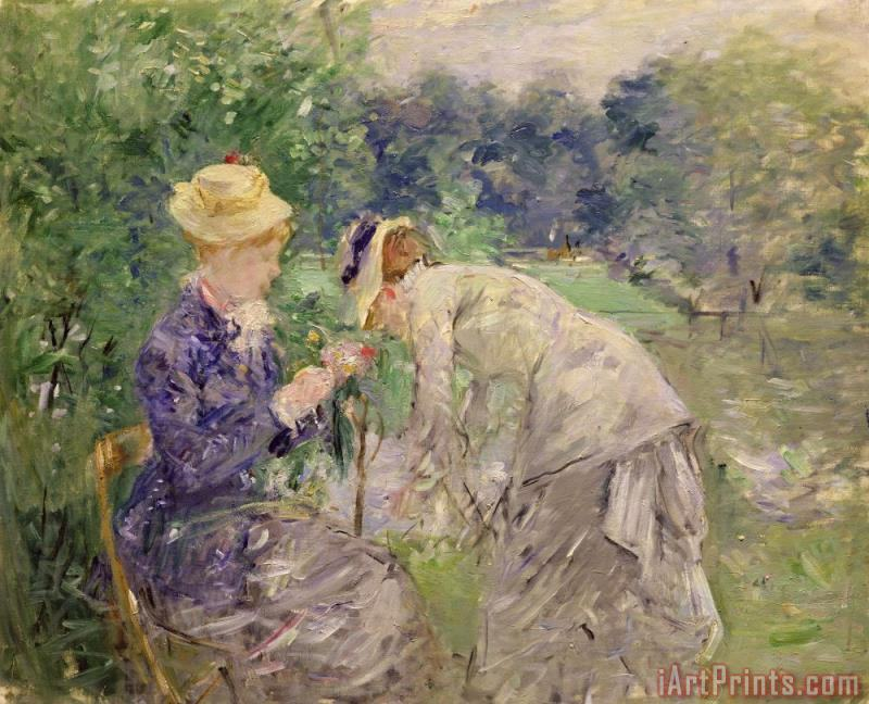 In the Bois de Boulogne painting - Berthe Morisot In the Bois de Boulogne Art Print