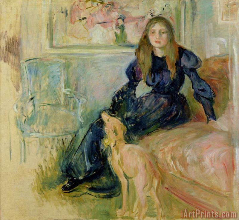 Julie Manet and her Greyhound Laerte painting - Berthe Morisot Julie Manet and her Greyhound Laerte Art Print
