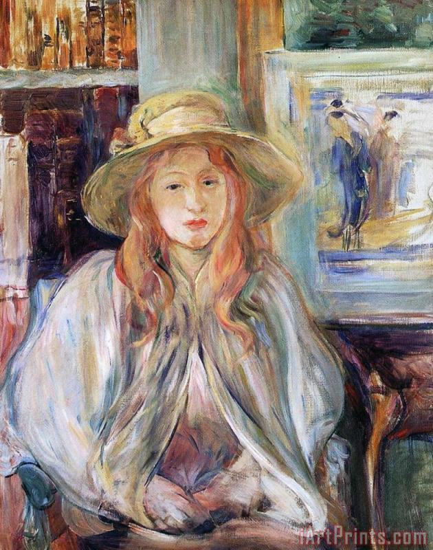 Julie Manet With A Straw Hat painting - Berthe Morisot Julie Manet With A Straw Hat Art Print