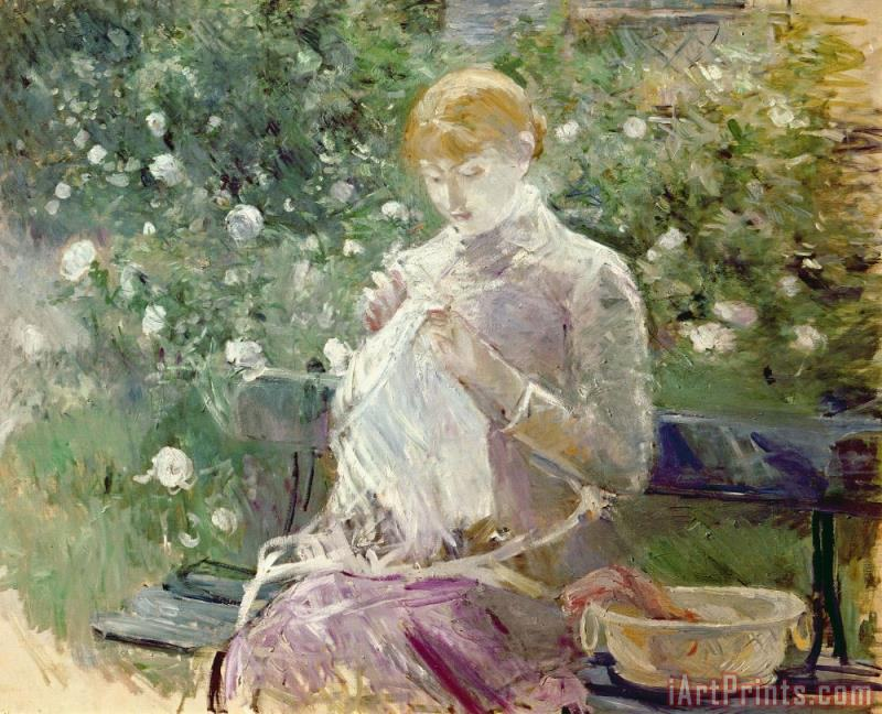 Pasie sewing in Bougivals Garden painting - Berthe Morisot Pasie sewing in Bougivals Garden Art Print