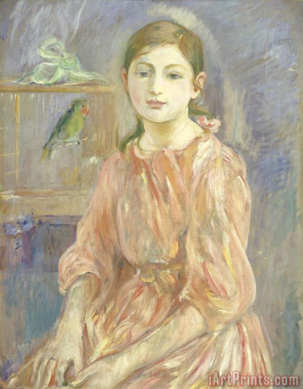 The Artist's Daughter with a Parakeet painting - Berthe Morisot The Artist's Daughter with a Parakeet Art Print