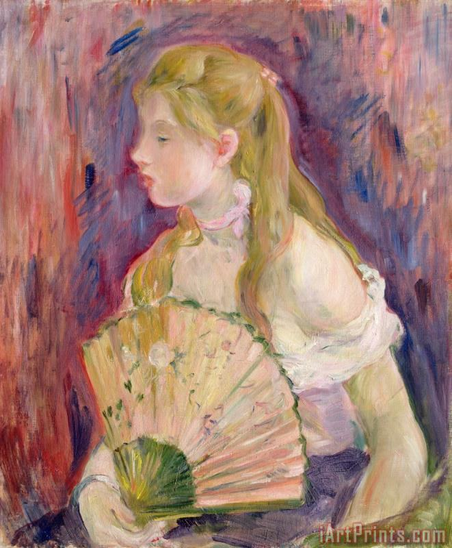 Young Girl with a Fan painting - Berthe Morisot Young Girl with a Fan Art Print