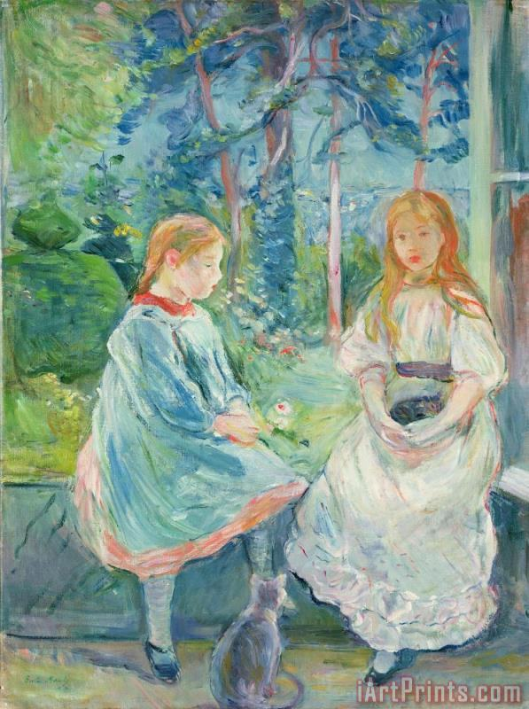 Young Girls at the Window painting - Berthe Morisot Young Girls at the Window Art Print