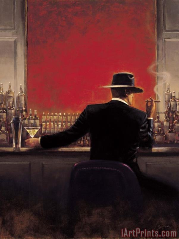 Cigar Bar painting - brent lynch Cigar Bar Art Print