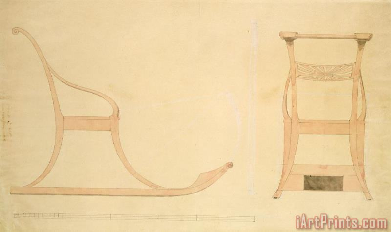 Chair for a Sleigh (pen with Reddish W/c on Paper) painting - Caspar David Friedrich Chair for a Sleigh (pen with Reddish W/c on Paper) Art Print