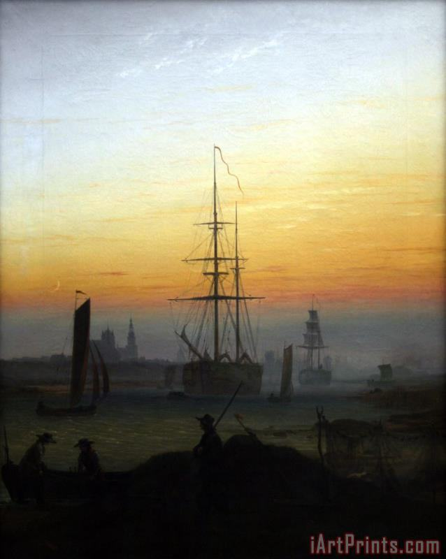Caspar David Friedrich Greifswald Harbour Art Print