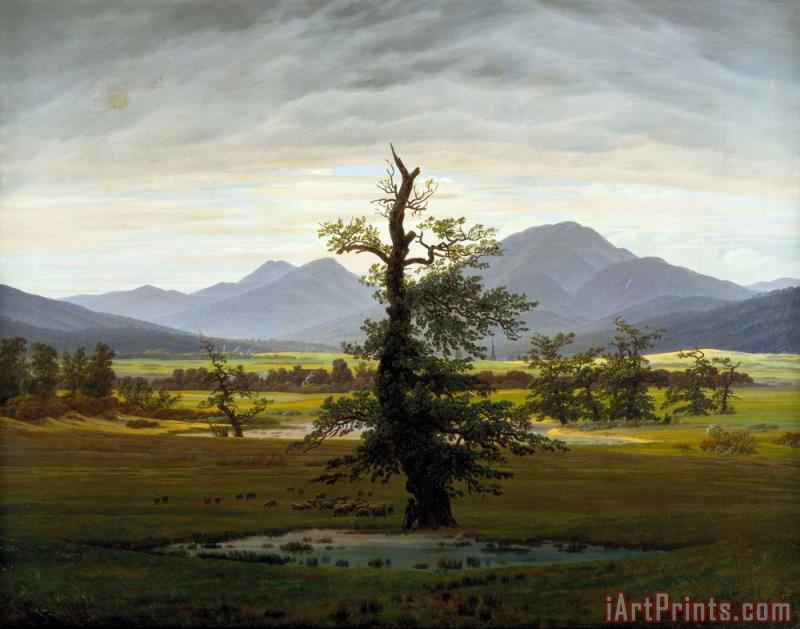Landscape with Solitary Tree painting - Caspar David Friedrich Landscape with Solitary Tree Art Print