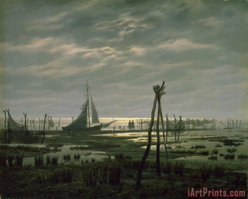 Caspar David Friedrich Marshy Beach (oil on Canvas) Art Print