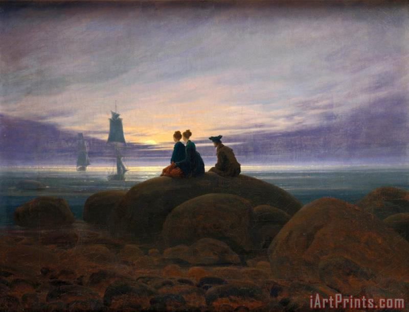 Moonrise by The Sea painting - Caspar David Friedrich Moonrise by The Sea Art Print