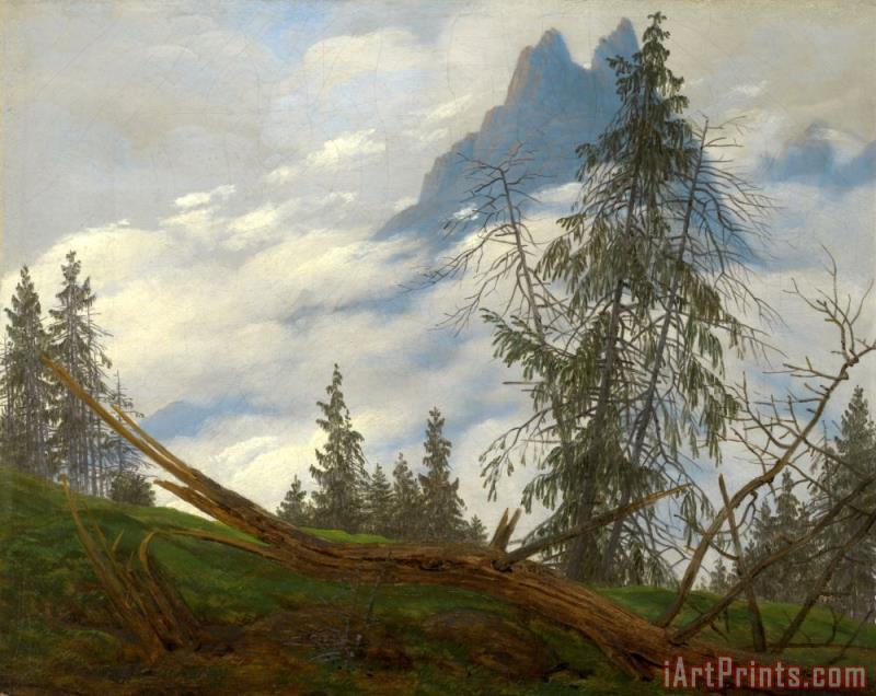 Mountain Peak with Drifting Clouds painting - Caspar David Friedrich Mountain Peak with Drifting Clouds Art Print