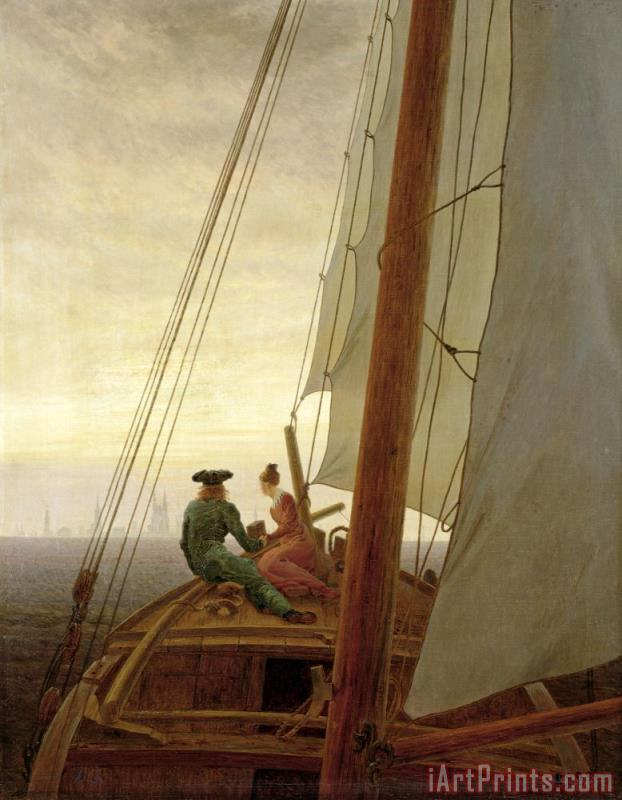 Caspar David Friedrich On Board a Sailing Ship Art Print
