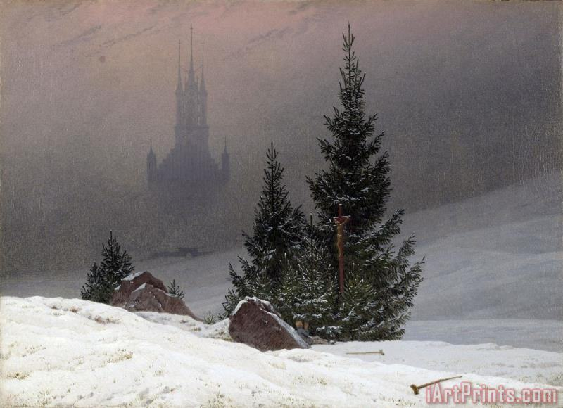 Winter Landscape painting - Caspar David Friedrich Winter Landscape Art Print