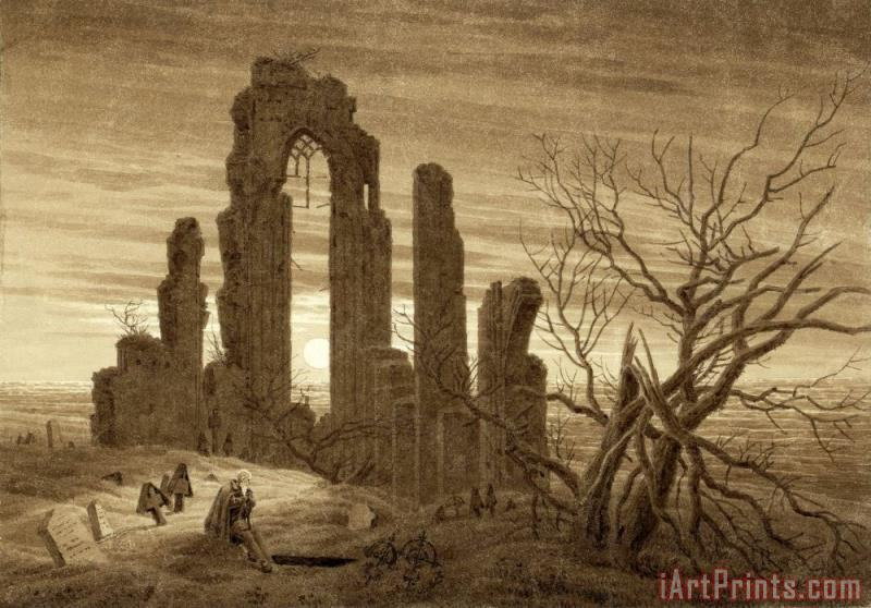 Caspar David Friedrich Winter - Night - Old Age And Death (from The Times of Day And Ages of Man Cycle of 1803) Art Print