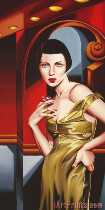 Olive Satin Dress painting - Catherine Abel Olive Satin Dress Art Print