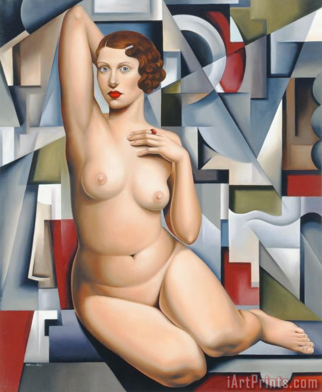 Seated Cubist Nude painting - Catherine Abel Seated Cubist Nude Art Print
