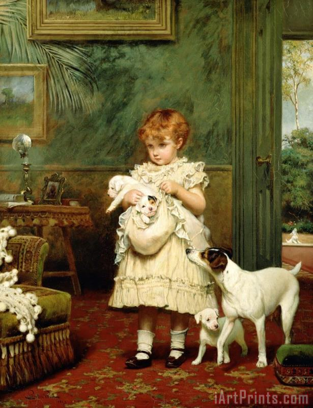 Girl with Dogs painting - Charles Burton Barber Girl with Dogs Art Print