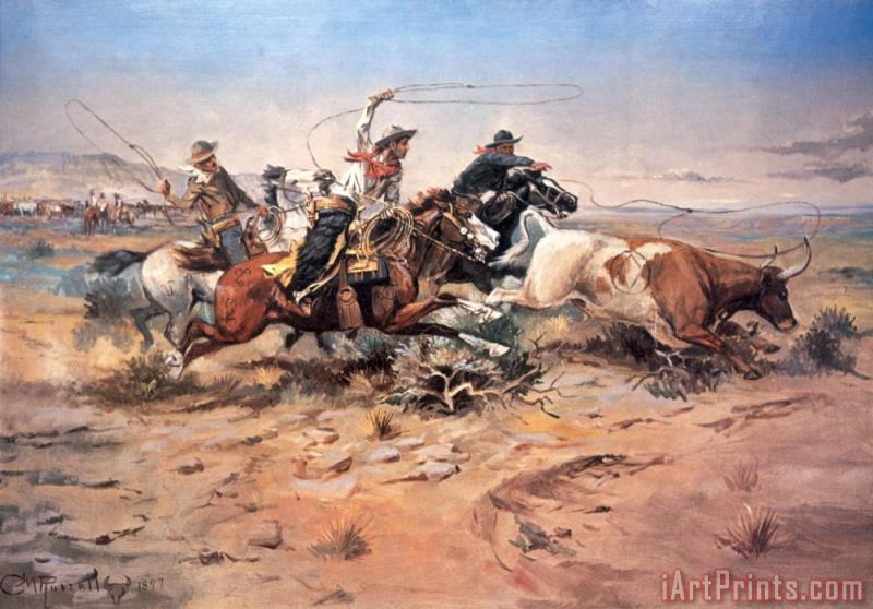 Cowboys roping a steer painting - Charles Marion Russell Cowboys roping a steer Art Print