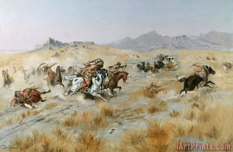 The Attack painting - Charles Marion Russell The Attack Art Print