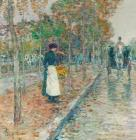 Autumn Boulevard in Paris by Childe Hassam