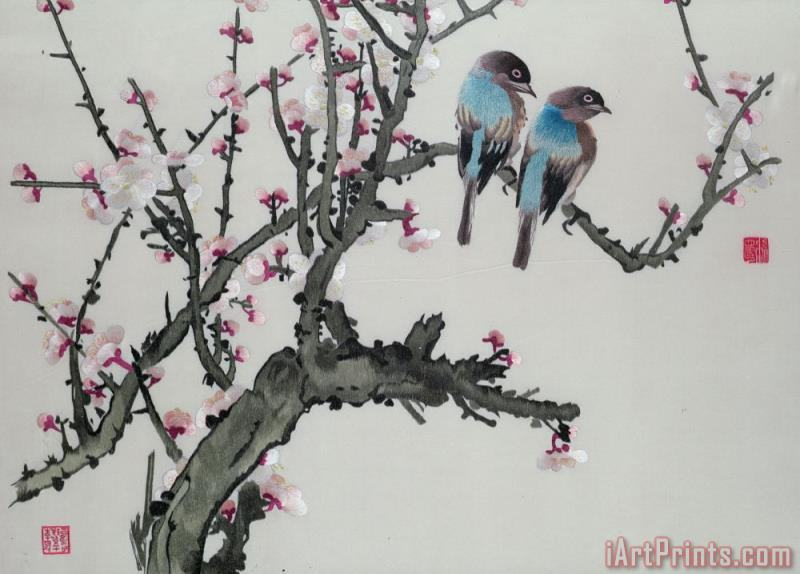 Pair of birds on a cherry branch painting - Chinese School Pair of birds on a cherry branch Art Print
