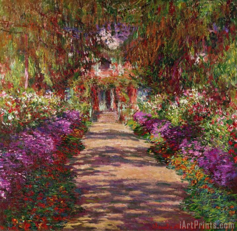 A Pathway in Monets Garden Giverny painting - Claude Monet A Pathway in Monets Garden Giverny Art Print