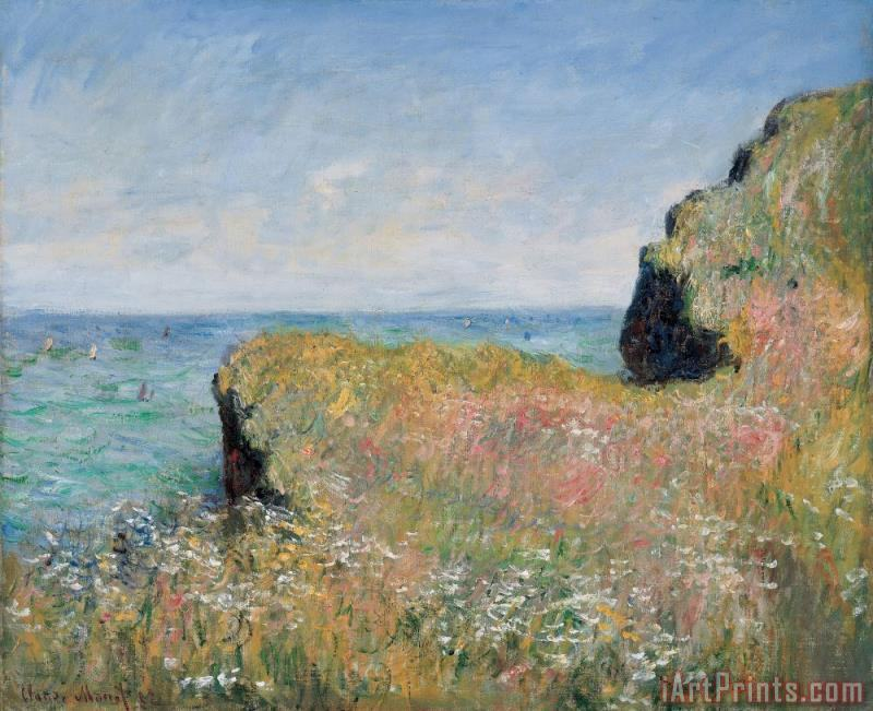 Edge of the Cliff Pourville painting - Claude Monet Edge of the Cliff Pourville Art Print