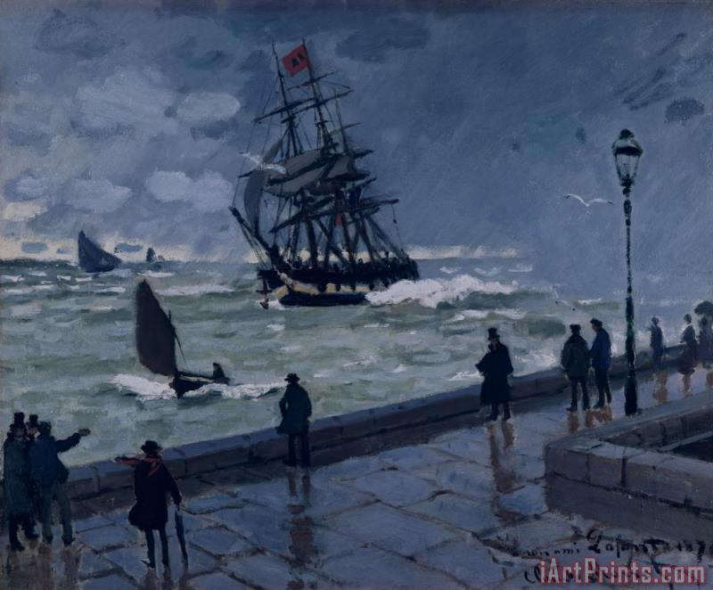 Claude Monet The Jetty at Le Havre in Bad Weather Art Print