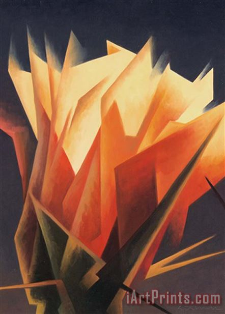 Ed Mell Cactus Flower painting - Collection Ed Mell Cactus Flower Art Print