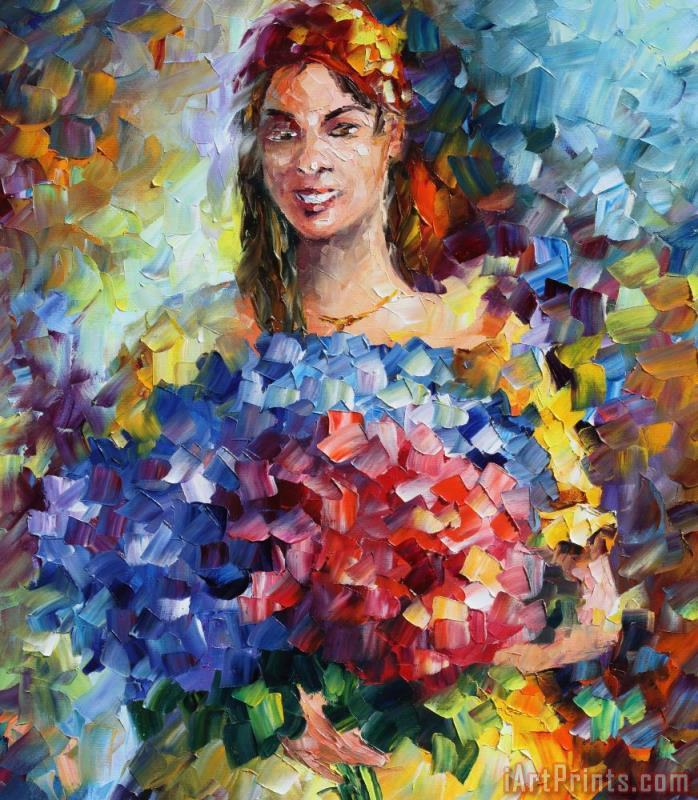 Lady With Flowers - Commissioned Painting painting - Leonid Afremov Lady With Flowers - Commissioned Painting Art Print