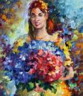 Lady With Flowers - Commissioned Painting by Leonid Afremov